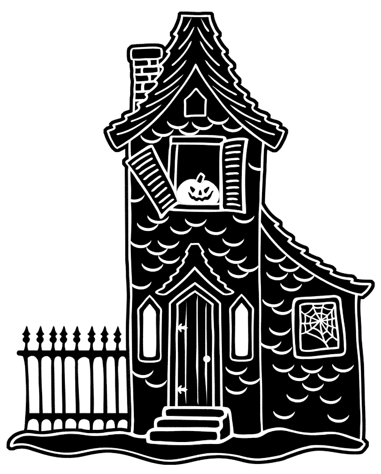 1286x1600 Haunted House Silhouette Clipart