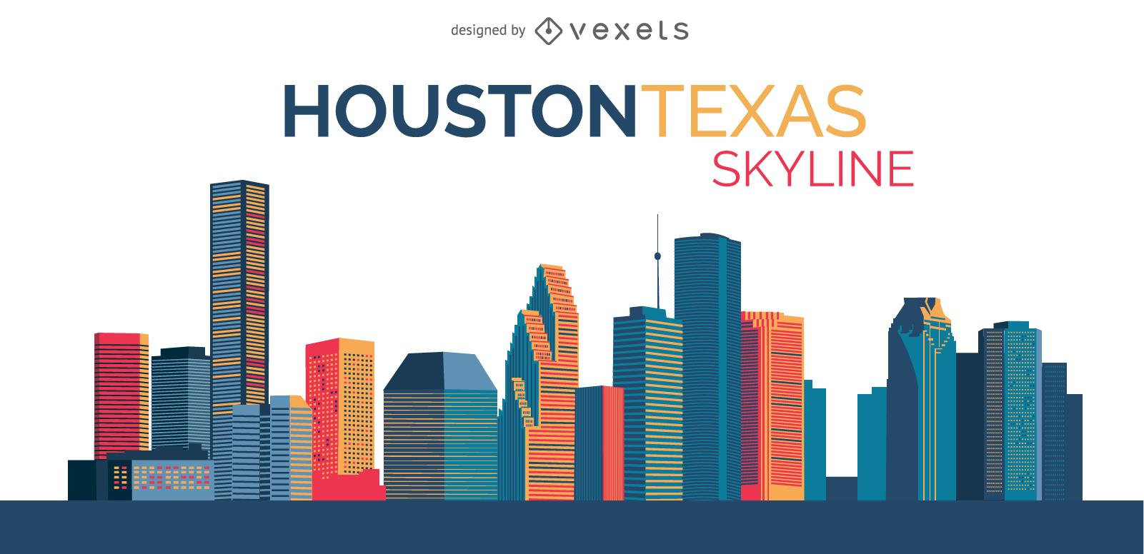 1601x776 Skyline Houston Illustration