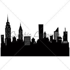 236x236 Cartoon Skyline Silhouette Of New York City. Pintura