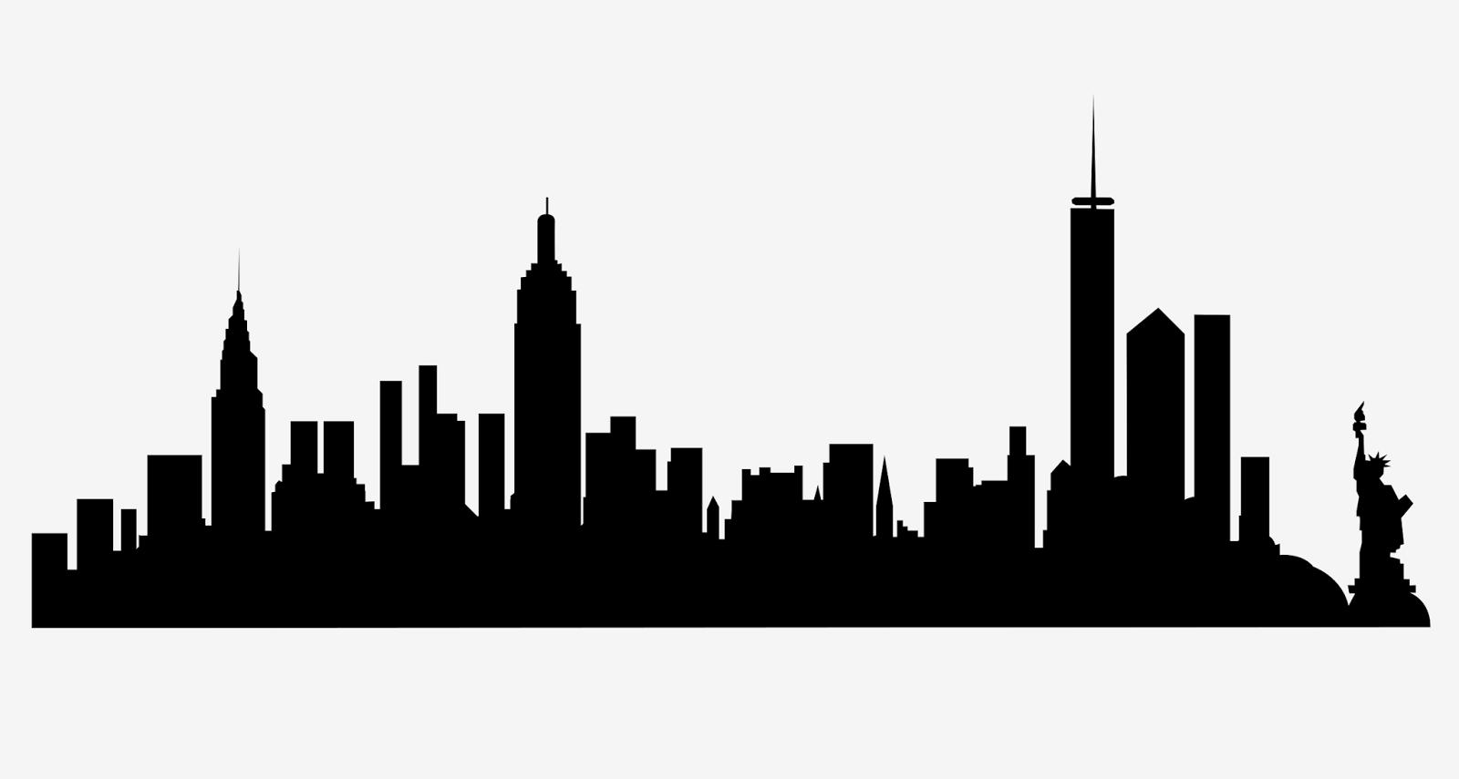 1600x855 City Skyline Silhouette Drawing