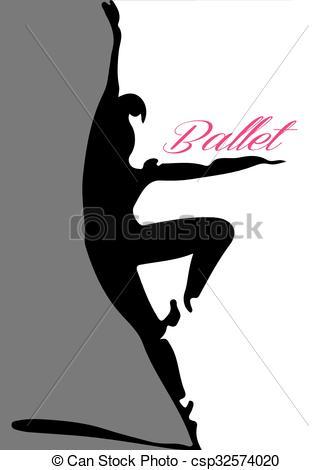 333x470 Ballet Dancer Silhouette 4 Pink Lettering Vector Illustration