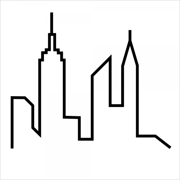 606x606 City Skyline Drawing Simple