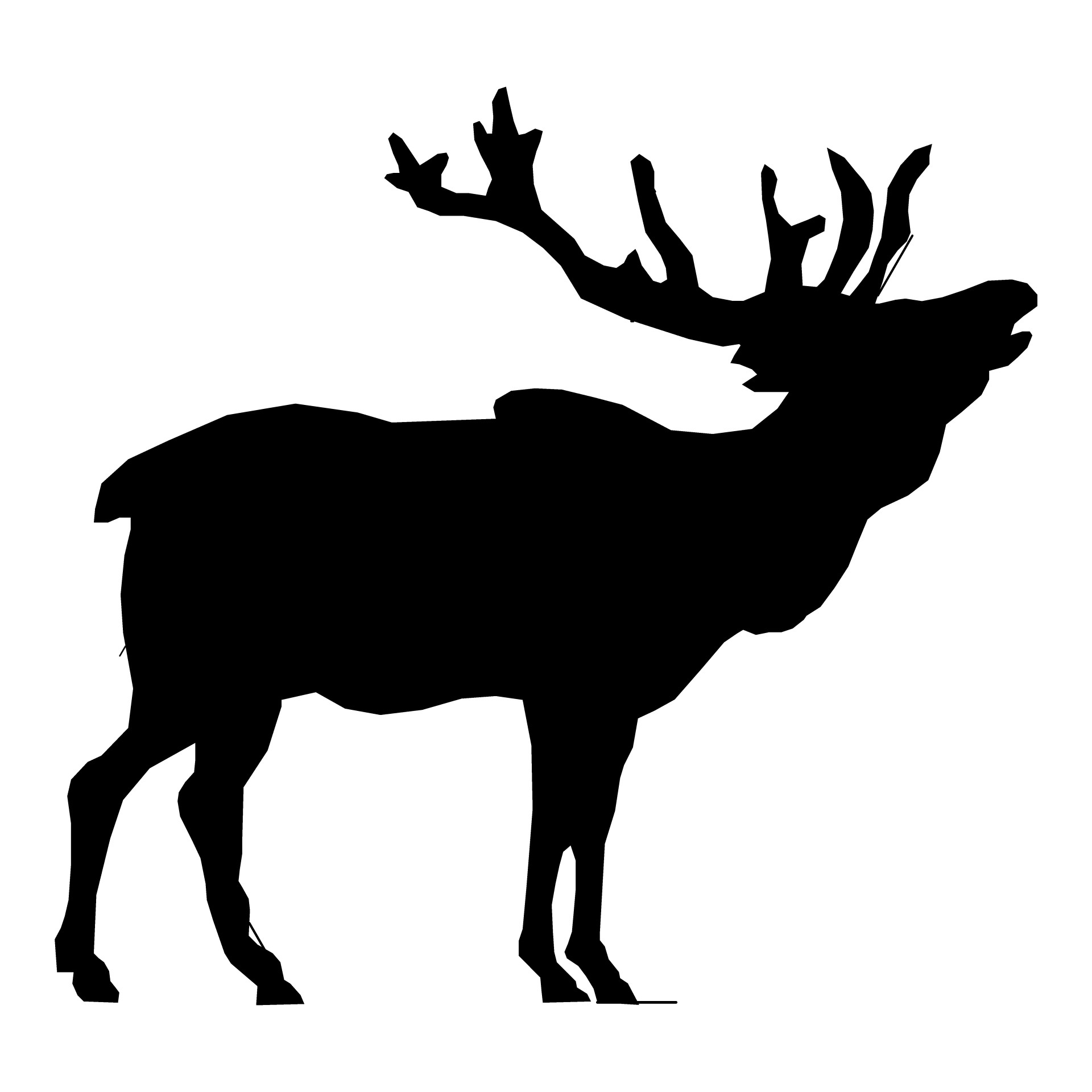 1920x1920 Elk Silhouette Drawing 01 Free Stock Photo