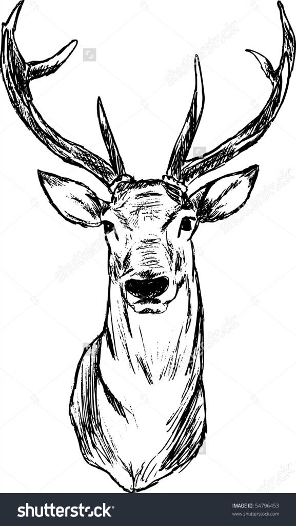 577x1024 How To Draw A Deer Head Easy Diy Glitter Deer Head Silhouette