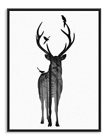 346x450 Nordic Vintage Deer Head Silhouette Posters Black White Animals