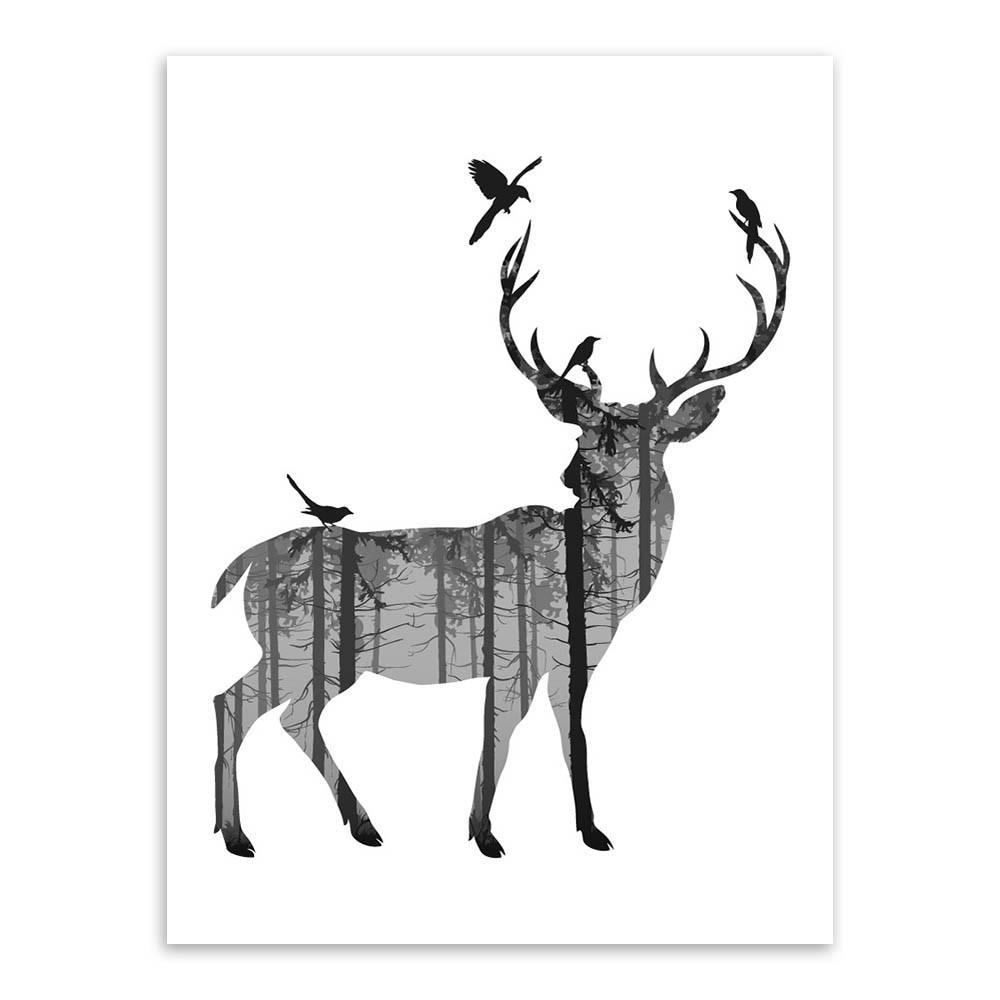 1000x1000 Vintage Black Amp White Deer Silhouette Poster
