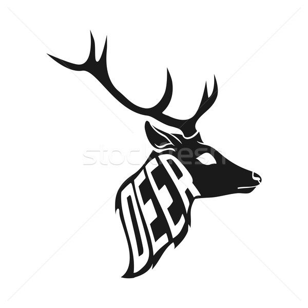 600x600 Concept Silhouette Of Deer Head With Text Inside On White