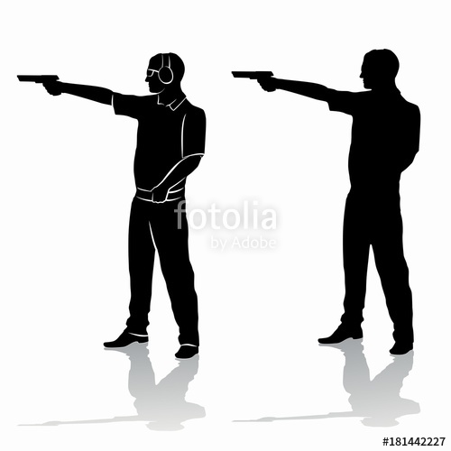 500x500 Silhouette Of A Shooter From A Gun , Vector Draw Stock Image