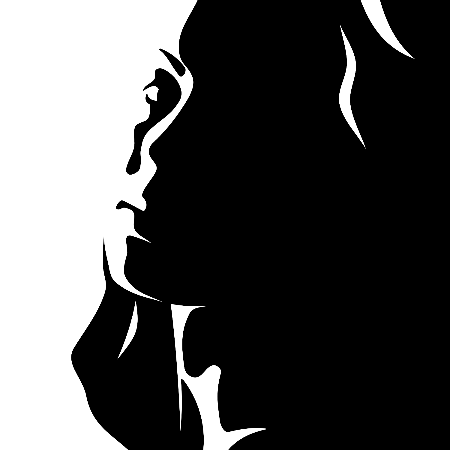 1500x1500 Woman Silhouette Vector Description Black And White Drawing