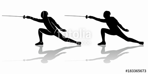 500x250 Silhouette Of A Fencer , Vector Draw Stock Image And Royalty Free