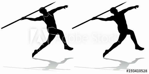 500x250 Silhouette Of Figure Javelin Thrower , Vector Draw