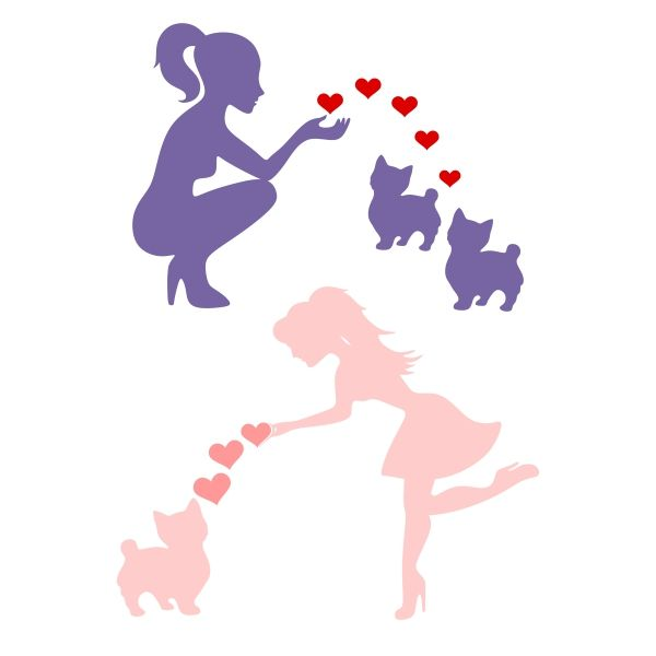600x600 Lady Love Kitten Cuttable Design Cut File. Vector, Clipart