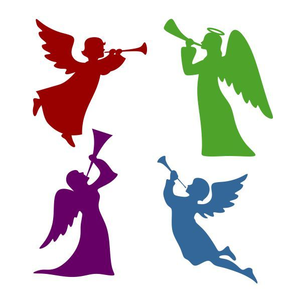 600x600 Angel Blowing Horn Silhouette Cuttable Design Cut File. Vector