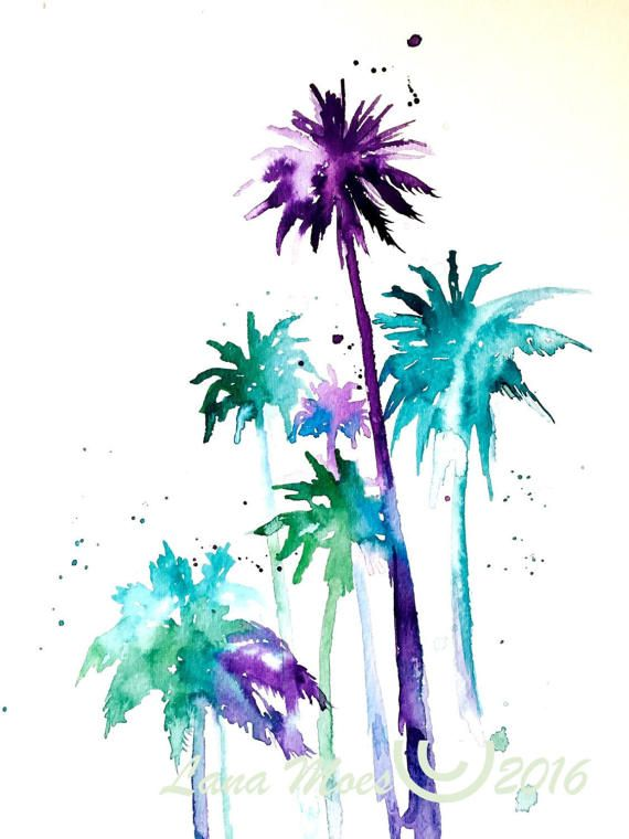 570x760 Palm Tree Watercolor Painting