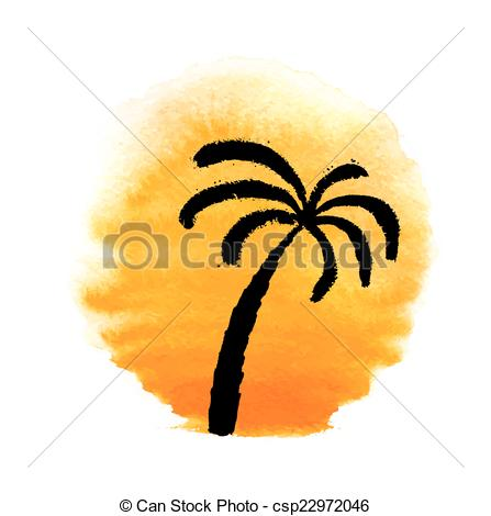 447x470 Silhouette Of Palm Trees Against The Sun. Vector. Silhouette