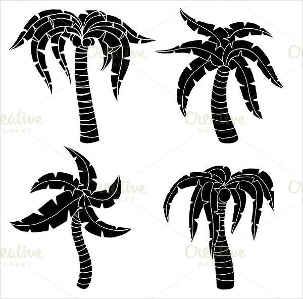 600x592 Palm Tree Silhouettes