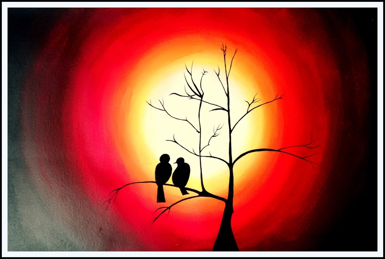 1280x860 Buy Beautiful Bird Silhouette Handmade Painting By Ashish Amrita