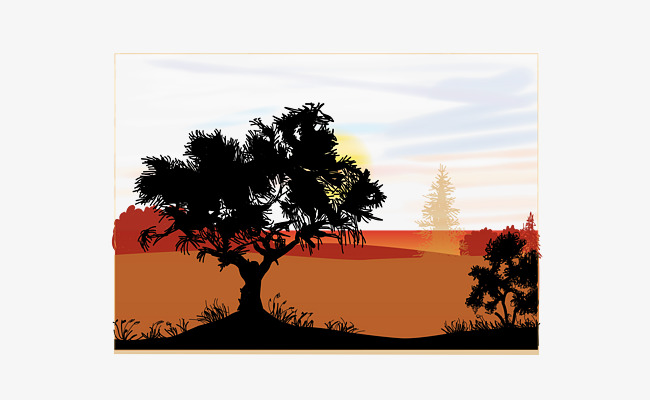 650x400 Depression Scene Vector, Silhouette, Barren, Trees Png And Vector