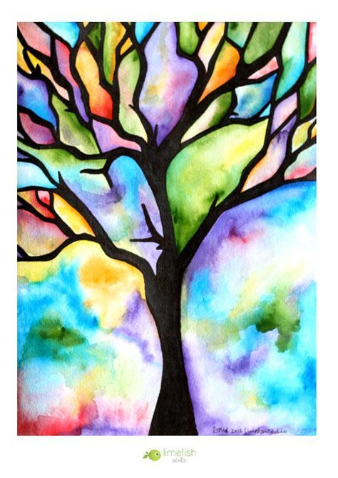 474x669 Made To Order Watercolor Painting, Tree Silhouette, Colorful