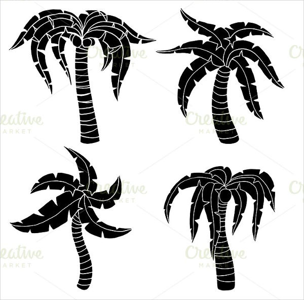 600x592 Palm Tree Silhouettes