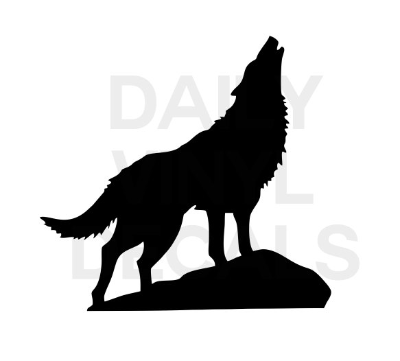 583x526 Howling Wolf Vinyl Decal Choose Size Amp Color Wolf Vinyl Sticker