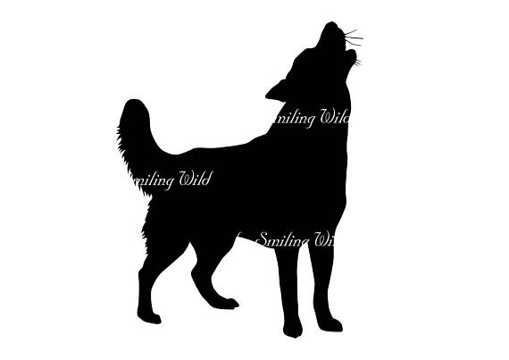 570x403 Howling Dog Svg Silhouette Vector Graphic Art File Cutout