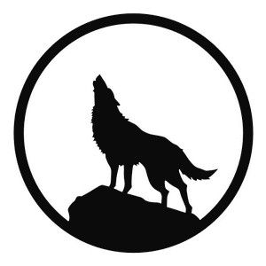 300x300 Howling Wolf Decal Sticker. Motorcycle Helmet Graphics Design