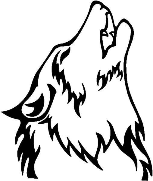 508x600 Howling Wolf Outline