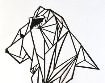 340x270 Original Wolf Papercut Art 7x5.5 Geometric Paper Original