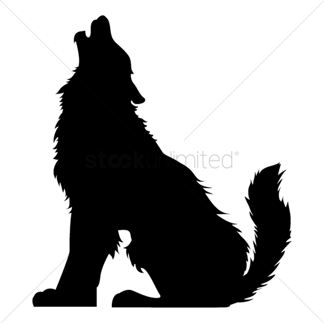 1300x1298 Silhouette Of Howling Wolf Vector Image