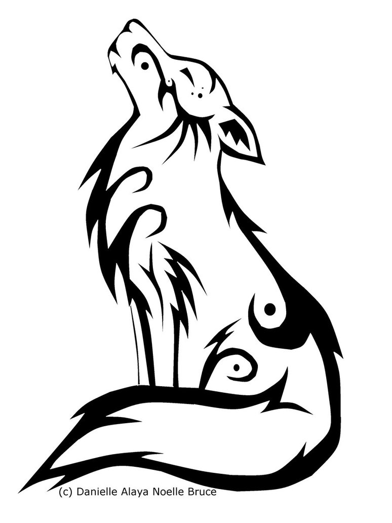 774x1032 Tribal Howling Wolf Clipart