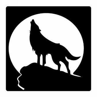 338x338 Howling Wolf Silhouette And Full Moon Vinilos De Corte