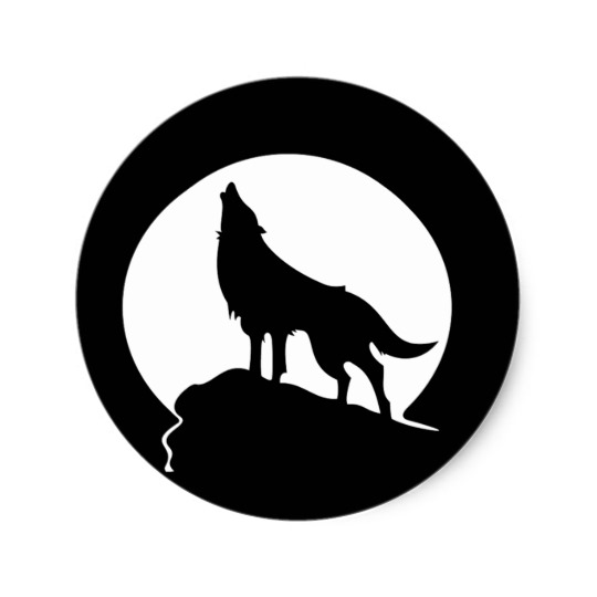 540x540 Wolf Howling With A Full Moon Round Sticker