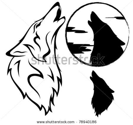 450x421 Howling Wolf Vector Illustration