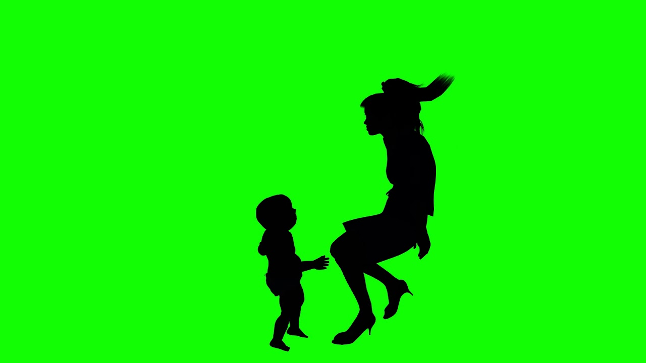 1280x720 Green Screen Mother And Baby Hugging Silhouette Shadow Effect