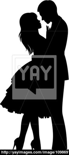 228x512 Silhouette Of Loving Couple Hugging Vector
