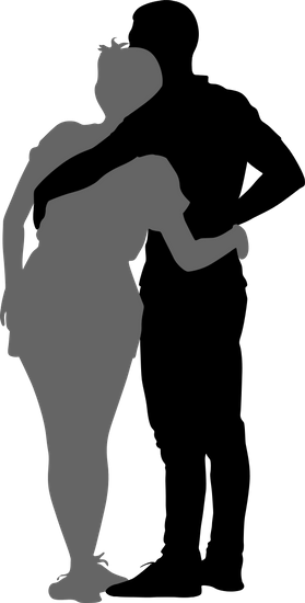 279x550 Couple Hugging Silhouette