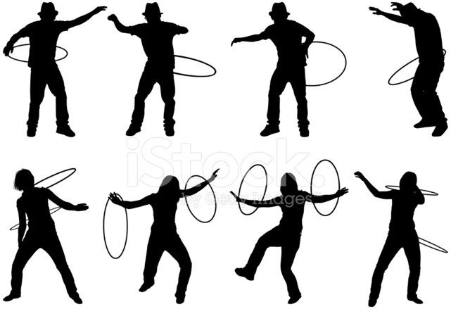 641x439 Men And Women Shaking Their Hips With Hula Hoops Stock Vector