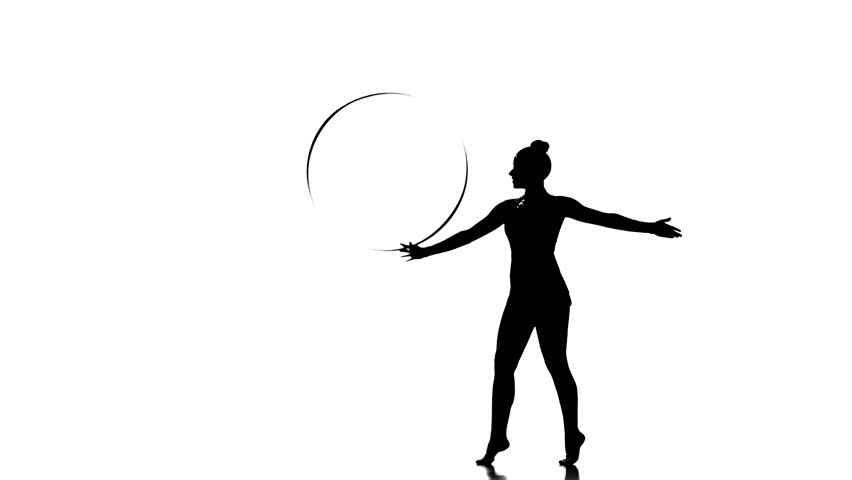 852x480 Young Gymnast Doing Tricks With The Hoop , Black And White Picture
