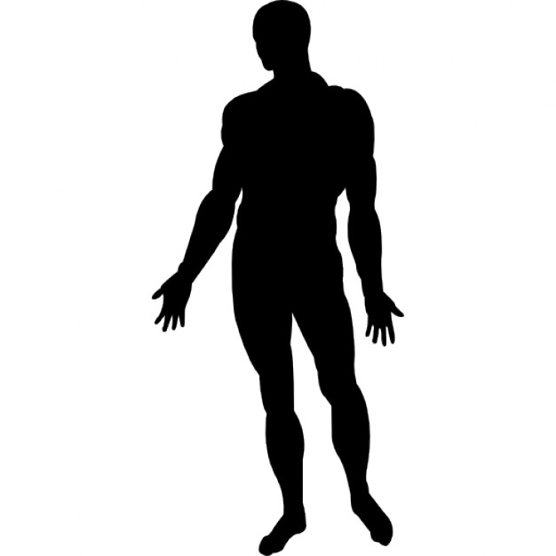 626x626 Human Body Standing Black Silhouette Icons Free Download