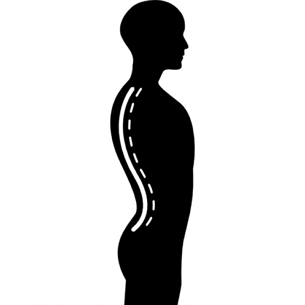 626x626 Column Inside A Male Human Body Silhouette In Side View Icons