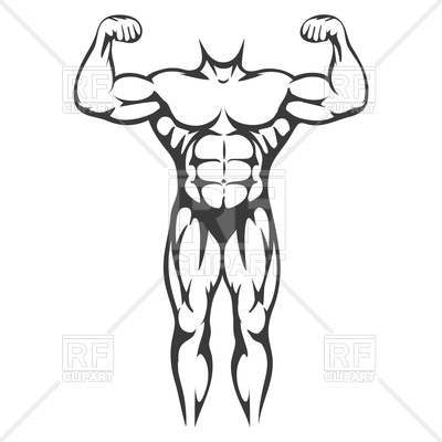 400x400 Male Body Muscle Black Silhouette Royalty Free Vector Clip Art