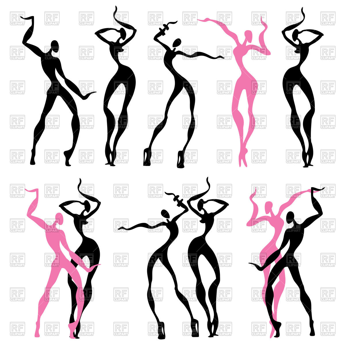 1200x1200 Silhouette Of Women's Abstract Dancing Figures Royalty Free Vector