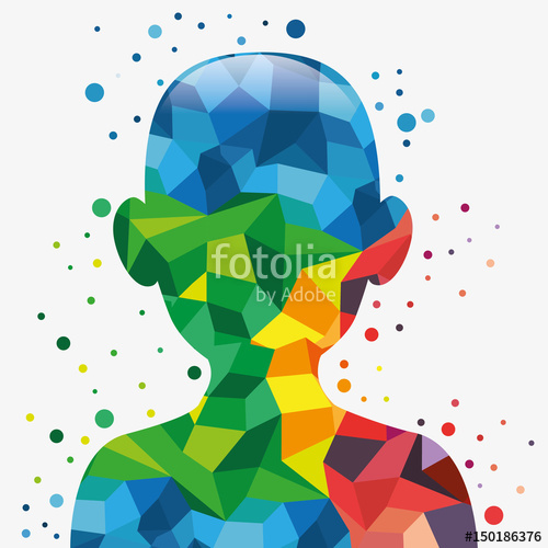 500x500 Upper Human Body Silhouette With Colorful Geometric Shapes Over