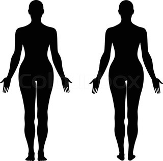 320x316 Fashion Body Full Length Bald Template Figure Silhouette (Front