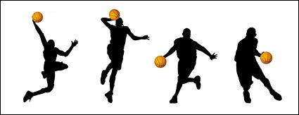 425x163 Basketball Action Figure Silhouettes Vector Material Vector, Free