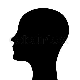 320x320 Silhouette Of A Man's Head On A White Background Stock Vector