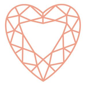 300x300 Jewel Heart Silhouette Design, Silhouettes And Cutting Files