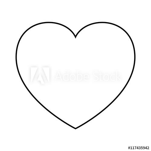 500x500 Human Heart, Silhouette, Outline Love Design. Vector Illustration