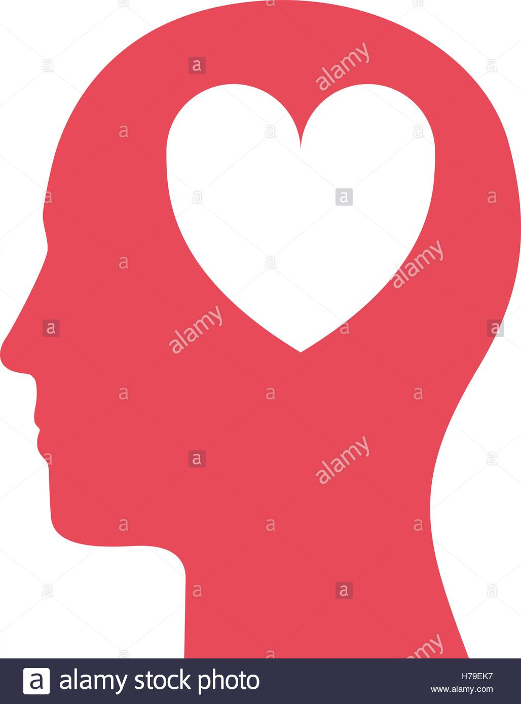 1028x1390 Silhouette Of Human Head Profile With Heart Shape Icon Inside Over
